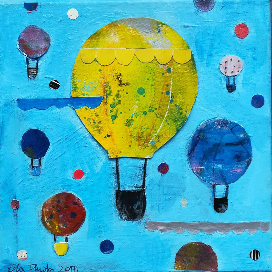 Baloons , Collage on Canvas
